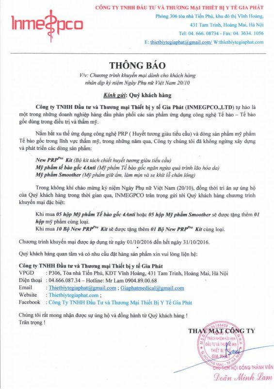 chuong trinh khuyen mai 20 10